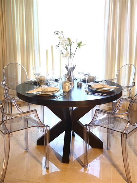 clear dining room table this elegant dining room features a large round wood