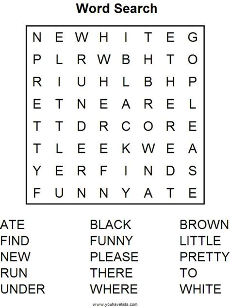 printable word search for language arts kindergarten word puzzle worksheets kindergarten english