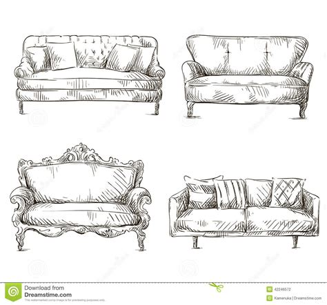 Armchair Travel Books Set Of Sofas Drawings Sketch Style Vector Illustration