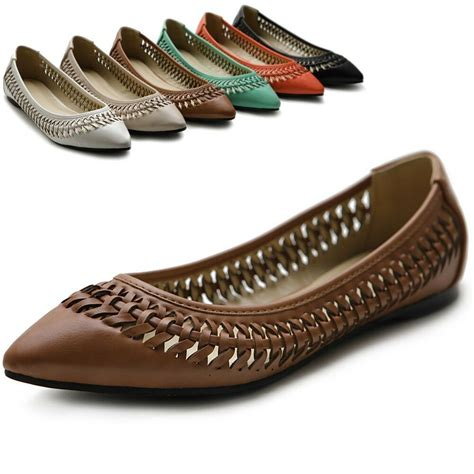 colored flats ollio womens shoes pointed toe weave comfort multi colored