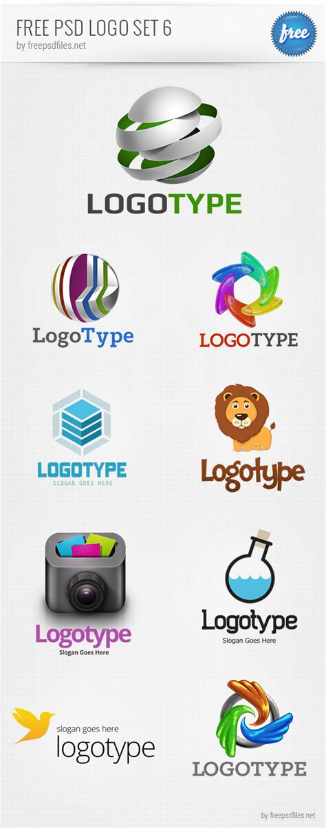 free psd logo design templates pack 6 free psd files