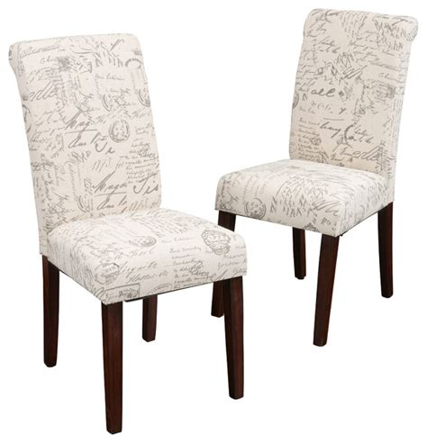 script printed linen dining chairs set of 2