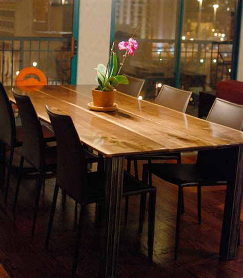 black walnut dining table with square steel legs modern