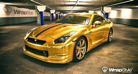 nissan gtr wrapped gold golden nissan gt r by wrapstyle extravaganzi
