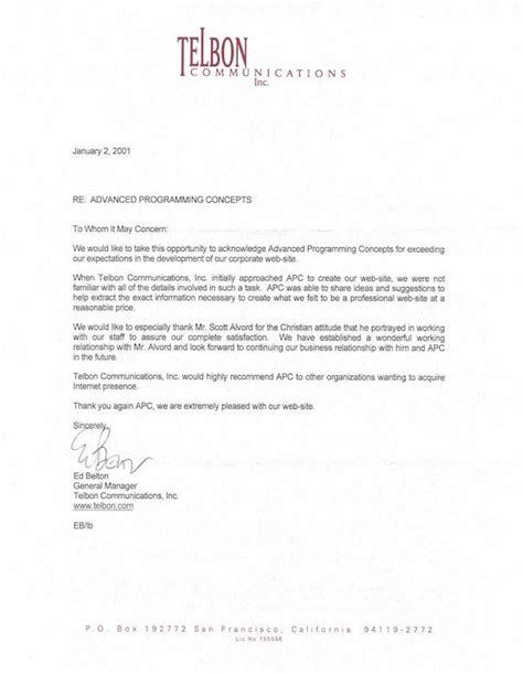 recommendation letter for a company template company business reference letter template business