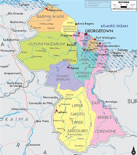 how many towns are there in guyana maps of guyana map library maps of the world