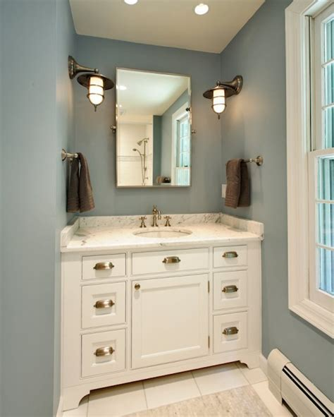 what color to paint walls with white cabinets blue and brown bathroom design ideas