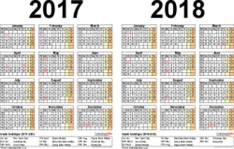 Romania Calendrier 2018 Two Year Calendars For 2017 2018 Uk For Pdf