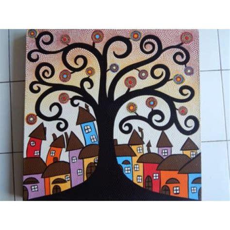 lukisan abstrak teknik dot motif pohon dan kota panjang 70 cm lebar 70 cm bahan kanfas