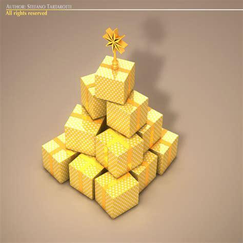xmas gift box tree 3d model in collada dae cinema 4d c4d