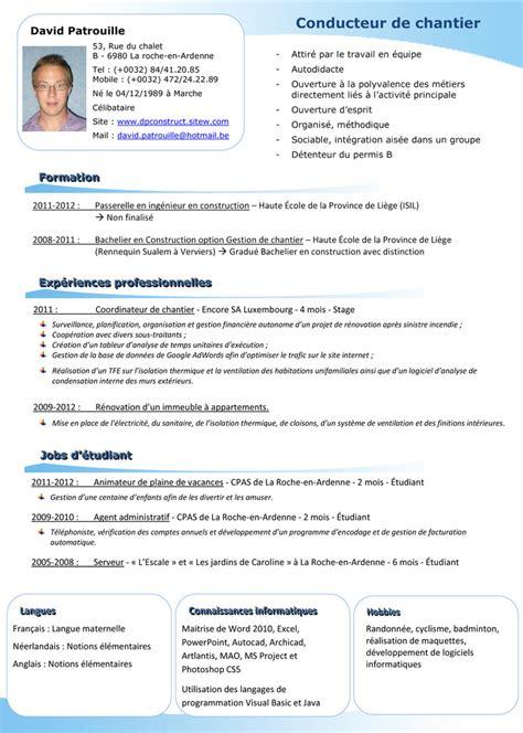 resume format pr 233 sentation du cv