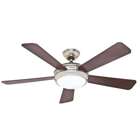 Shop Hunter Palermo 52 In Brushed Nickel Downrod Or Flush Flush Mount Ceiling Fans With Light