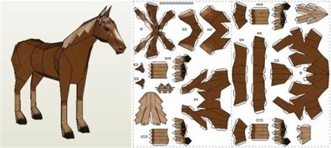 papermau horse paper model by only piece via pepakura