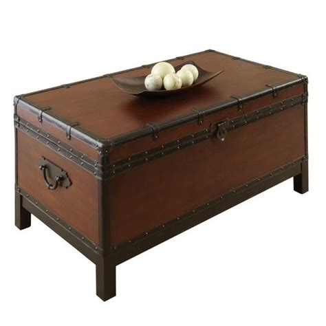 Silver Trunk Coffee Table Steve Silver Company Voyage Trunk Coffee Table In Antique Cherry Brown Vy200c