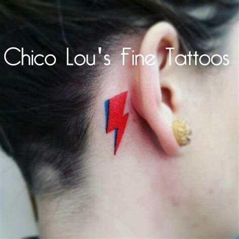 david bowie lightning bolt memorial tattoo behind the ear