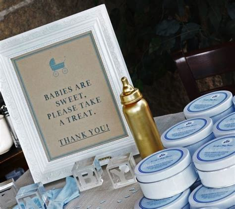 sophisticated gold and blue baby shower ideas