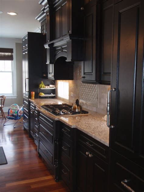 Dark Espresso Kitchen Cabinets by Espresso Cabinets What Countertops Backsplash