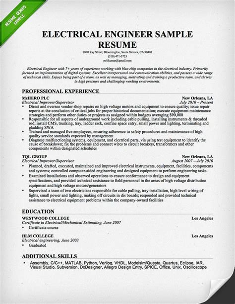 resume format for engineers 2015 electrical engineer resume sle resume genius