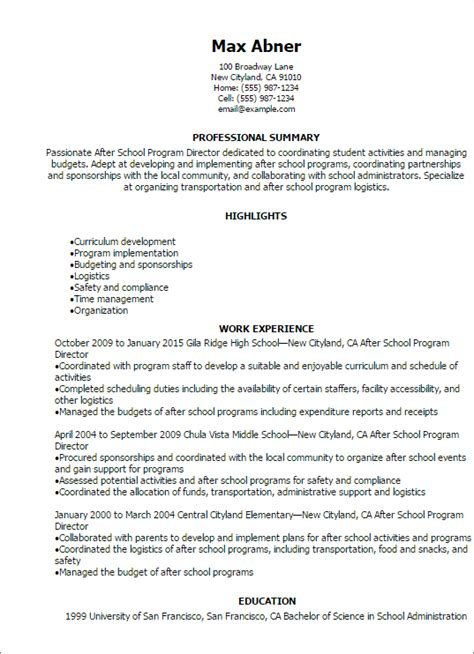 After School Director Sle Resume by Resume After Student Teaching 28 Images Click Here To This After School Resume Professional