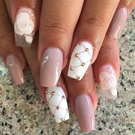 pink and white lights light pink and white patterned nail design womens