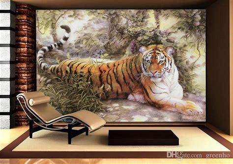 tiger room painting wall mural tiger photo wallpaper custom animal wallpaper room decor