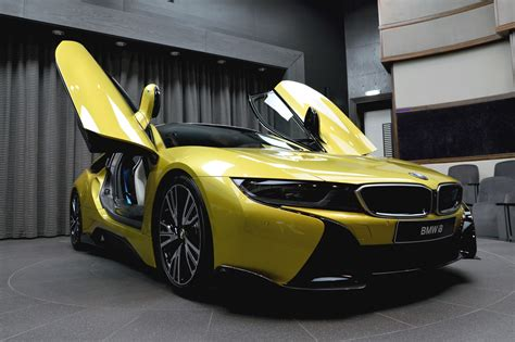 bmw i8 features bmw i8 in yellow features ac schnitzer parts in abu