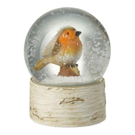 gac177 glass robin snow globe 33438 christmas