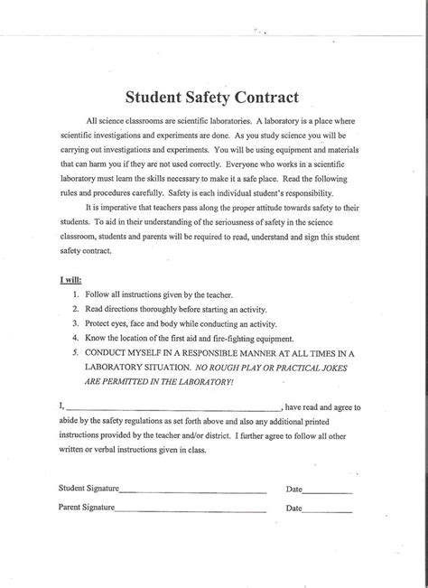 contract for safety template jannettekruse lab safety contract