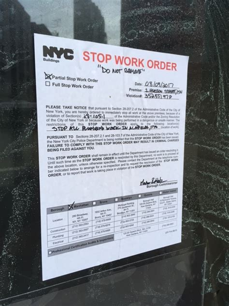 Stop Work Order by Tribeca Citizen Seen Amp Heard Peeking Inside Greca