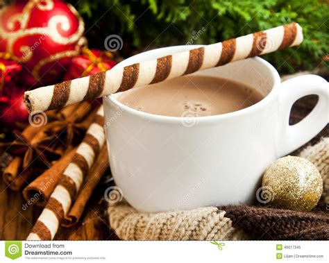 christmas time snacks chocolate with spiral snack with decoration stock photo image 46017345