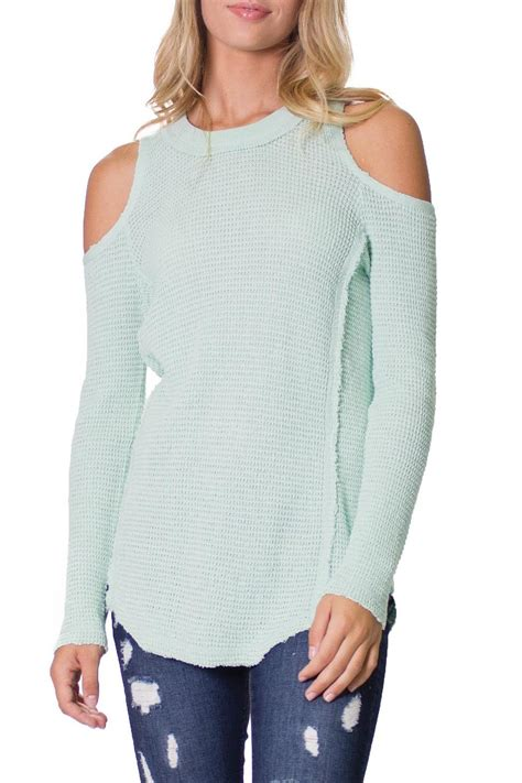 Import Peek A Boo Sweater elan cold shoulder sweater from atlanta by collage
