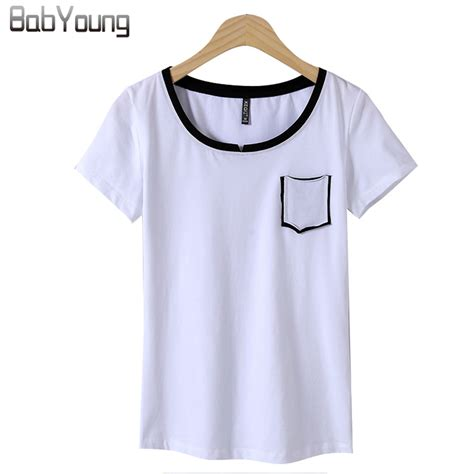 White Sleeved V Neck Shirt 1 babyoung 2017 summer tops casual t shirts cotton t shirt sleeve v neck white