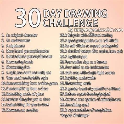 Drawing Challenge by 30 Day Drawing Challenge On