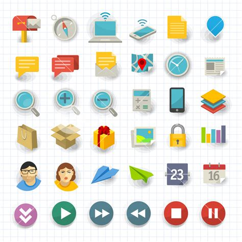 flat design icon vector vector flat design communication and business icon set