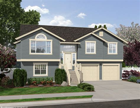 4 level split house four bedroom split level 23443jd 1st floor master suite butler walk in pantry cad