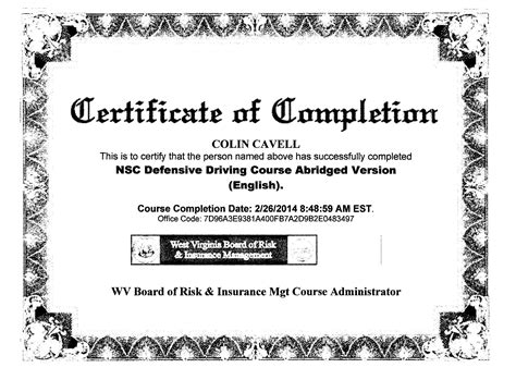 driving certificate template defensive driving course print certificate