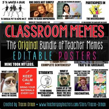 Teacher Meme Posters - classroom memes posters editable back to school class