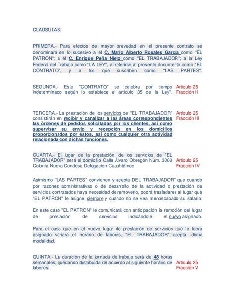 Carta De Trabajo Individual Contrato Individual De Trabajo Por Tiempo Indeterminado