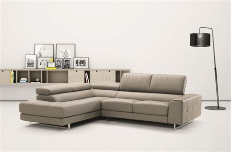 Light Gray Sectional Sofa by Johnny R015 Genuine Leather Sectional Sofa In Light Grey