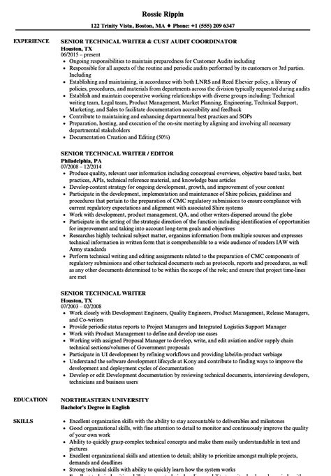 technical writing resume senior technical writer resume sles velvet