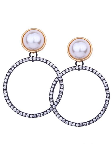 Faux Pearl Circle Earring sparkly rhinestoned faux pearl circle earrings white