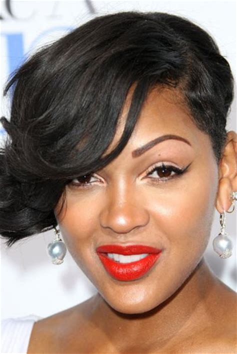 one sided black hairstyles meagan good s one sided wavy short hairstyle party formal evening careforhair co uk