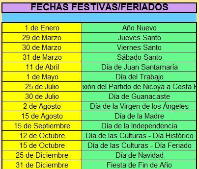 Costa Rica Calendã 2018 Calendario 2018 Costa Rica 171 Excel Avanzado