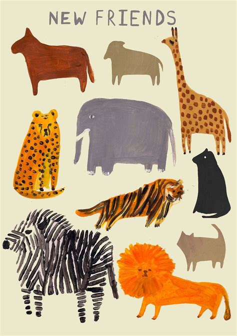 printable animal poster zoo folk art animal illustration print via etsy carolyn