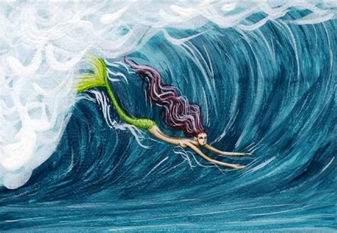 acrylic paint on canvas finish mermaid surfer by hiroko reaney from my best mermaids