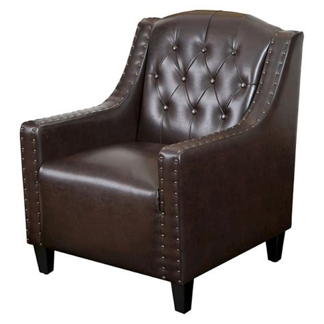 Christopher Leather Chair by Gabriel Tufted Leather Club Chair Brown Christopher