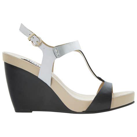 Sandal Wanita Wedges Jnr Black Silver dune leather nautical wedge sandal in silver black silver lyst