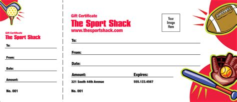 Printable Sports Gift Certificates | sports gift certificate 002