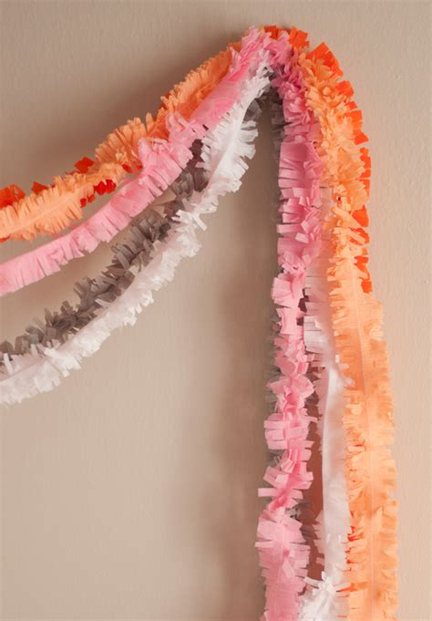 Make Crepe Paper Decorations - fringe layered garland a subtle revelry