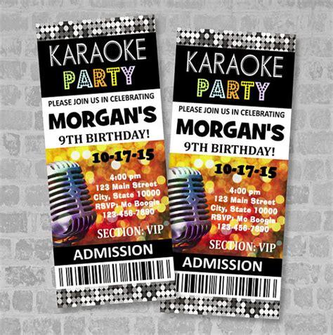 printable karaoke invitations printed karaoke birthday party ticket invitation custom
